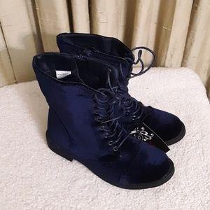 Blue Velvet Combat Boots Sz 7